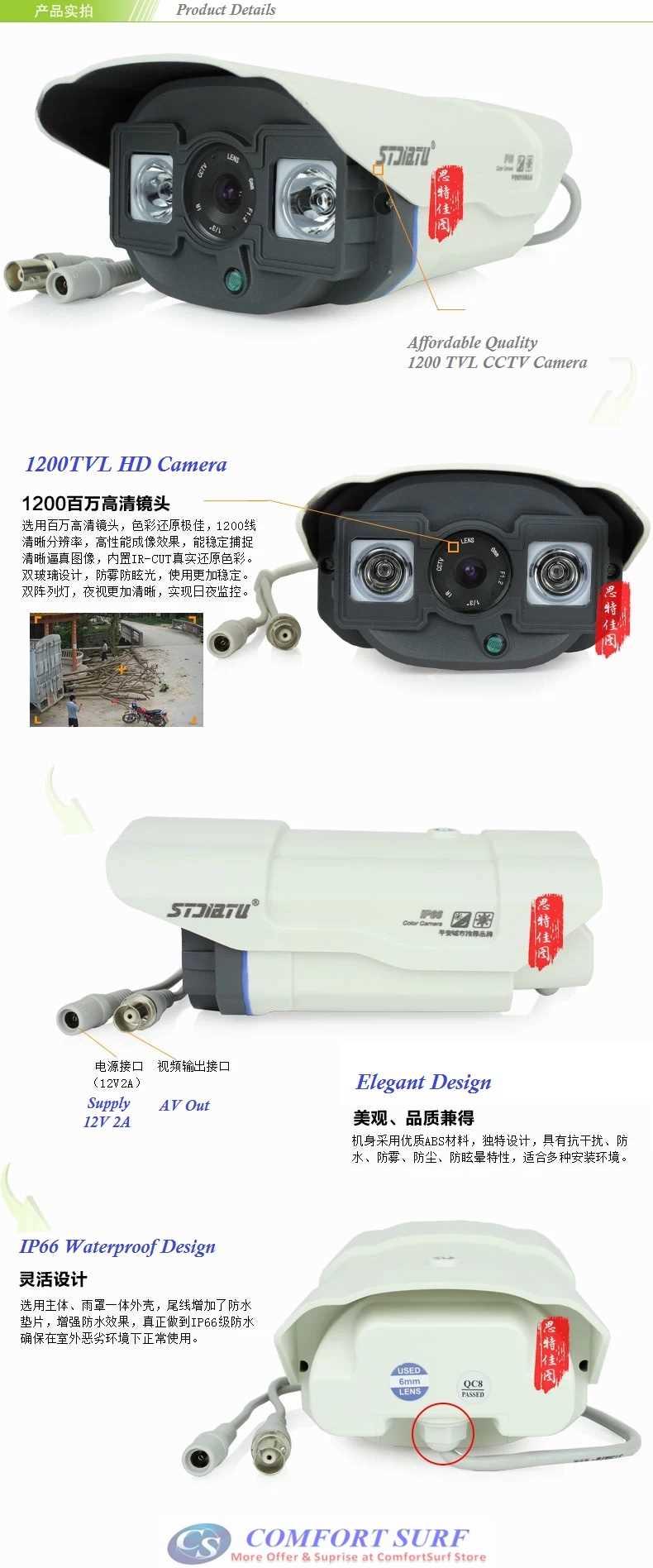 NEW 1200TVL 2pcs Big Array Lamp Outdoor Waterproof CCTV Camera Auto Balance Night Vision