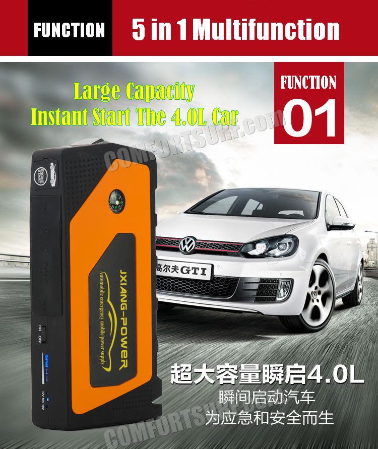 Original JX28 Multifunction All in 1 Car Jumper Starter Power Bank 69800 with 5V 9V 12V 16V 19V Output for Gasoline car, mobile phone & Laptop Charger