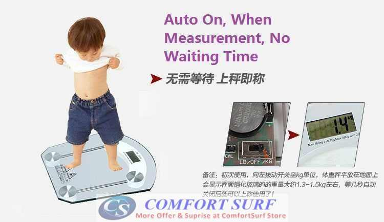 Crystal Clear Slim Tempered Glass LCD Digital Body Weighing Scale 150KG