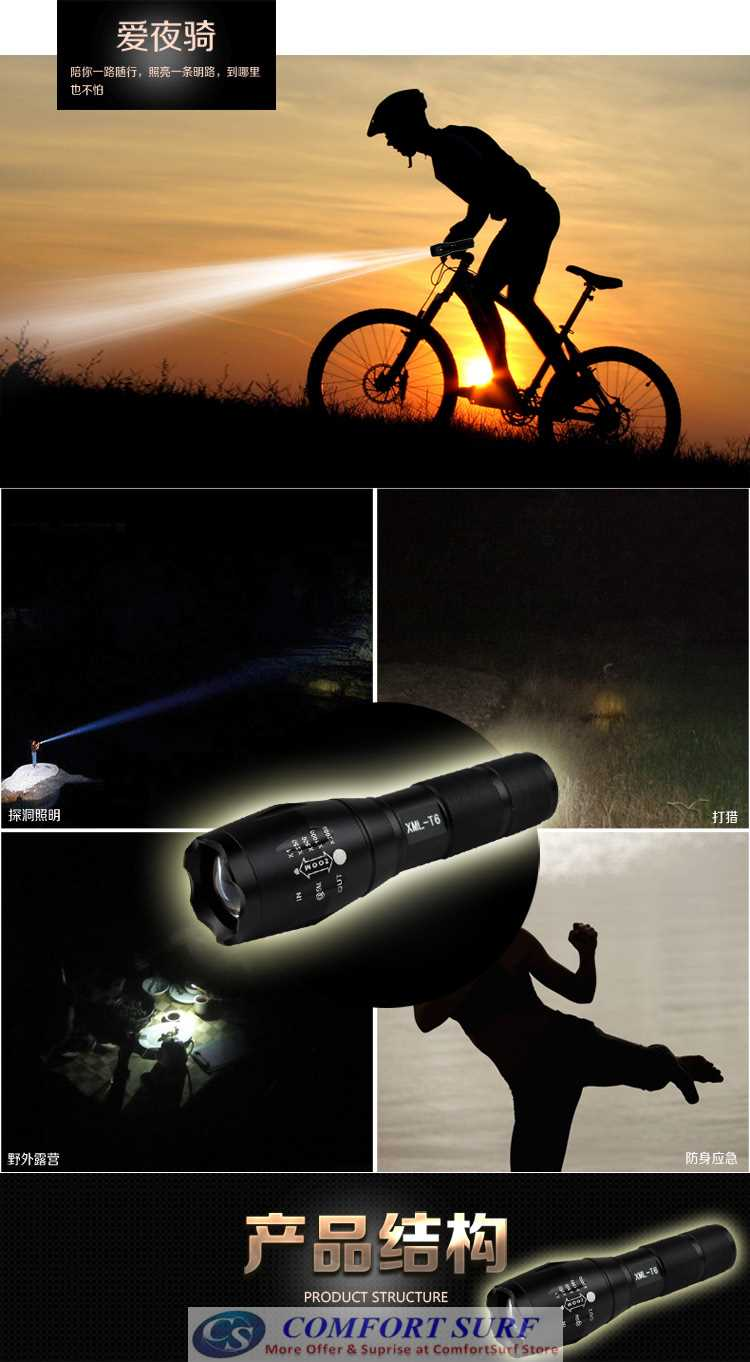 Ultrafire Super CREE XML-T6 T6 LED Zoomable Torchlight Flashligh with 5 Adjustable Mode