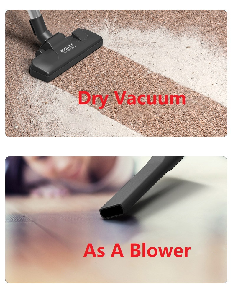 Multifunction Heavy Duty Powerful 100W 3-in-1 Dry / Wet / Blower Vacuum Cleaner 12L Bagless Vacuum Stainless Steel Container