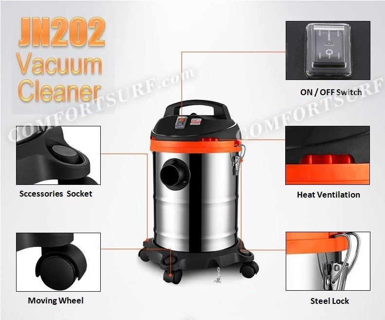 Multifunction Heavy Duty Powerful 1000W 3-in-1 Dry / Wet / Blower Vacuum Cleaner With 15L Stainless Steel Container