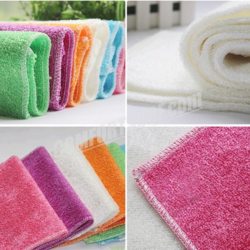 High Efficient New Bamboo Fiber Cleaning Cloths Anti-grease Home Towel Kitchen Dish Wash Cloth Wiping Rags