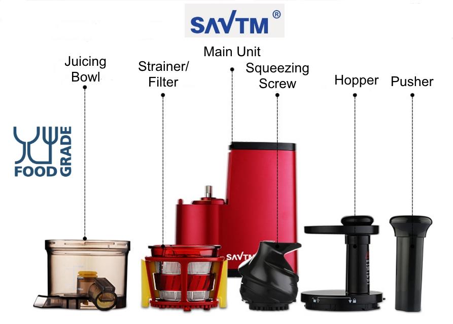 SAVTM JE-07 Slow Juicer 100% Fresh Fruit Juice Extraction Blender Maker