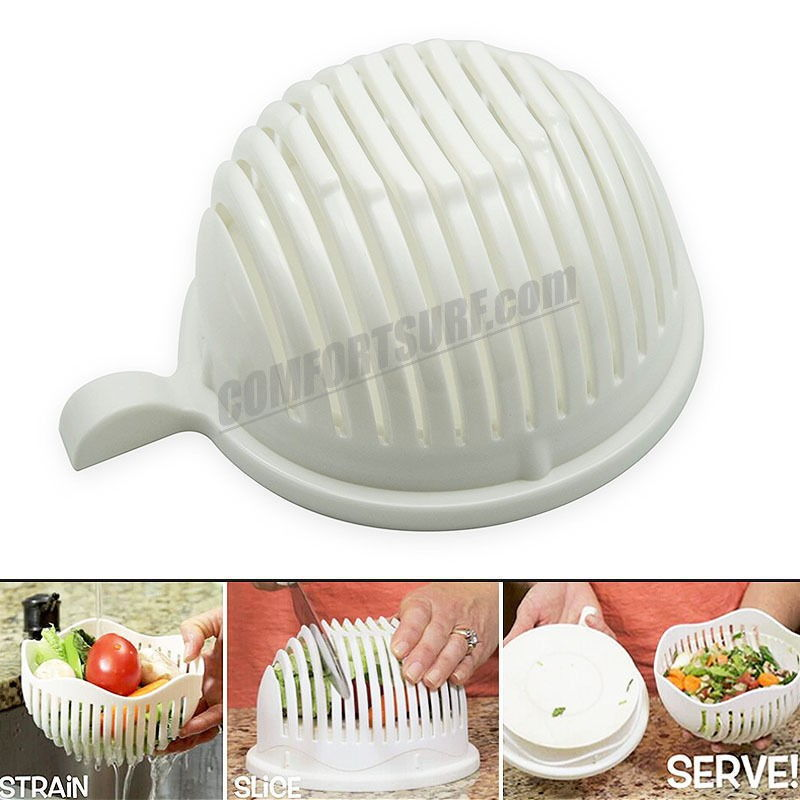 60 Second Salad Maker Fruit Slicer Healthy Fresh Vegetable Cutter Bowl Tools Easy Cooking