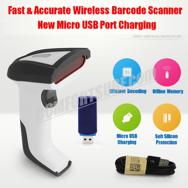 CHITENG Wireless Laser Barcode Scanner High Speed Scan