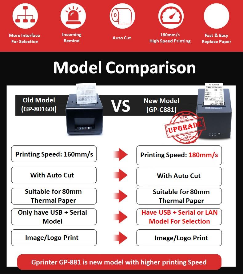New 80mm GPrinter GP-L80160I GST POS Cash Register Receipt Themal Printer Auto Cut