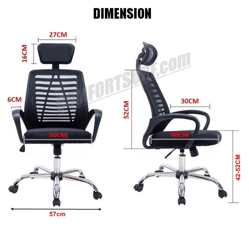 C850 Adjustable Seat Height Ergonomic Office Home Large Classy Swivel Mesh Comfort Office Chair Kerusi Pejabat