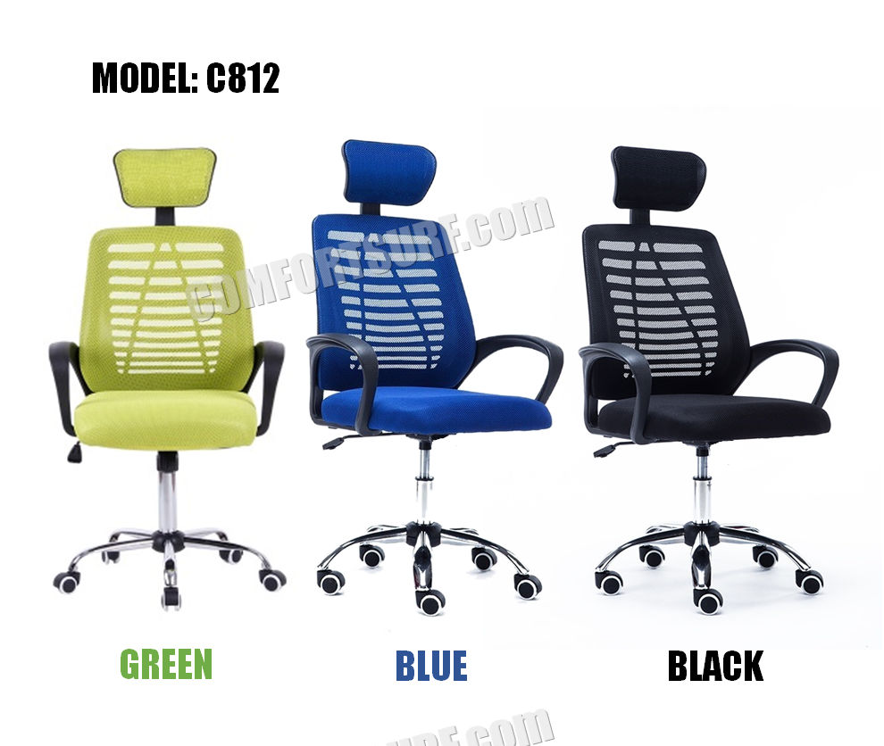 C912 Adjustable Seat Height Ergonomic Office Home Large Classy Swivel Mesh Comfort Office Chair Kerusi Pejabat