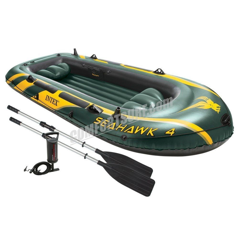 SEAHAWK 4 INTEX 68351 4 Persons Inflatable Boat Set With French Oars and High Output Hand Pump