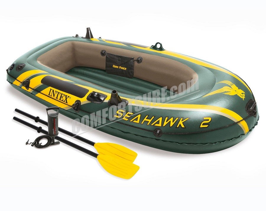 SEAHAWK 2 INTEX 68347 2 Persons Inflatable Boat Set With French Oars and High Output Hand Pump