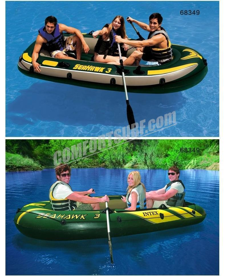 SEAHAWK 3 INTEX 68349 3 Persons Inflatable Boat Set With French Oars and High Output Hand Pump