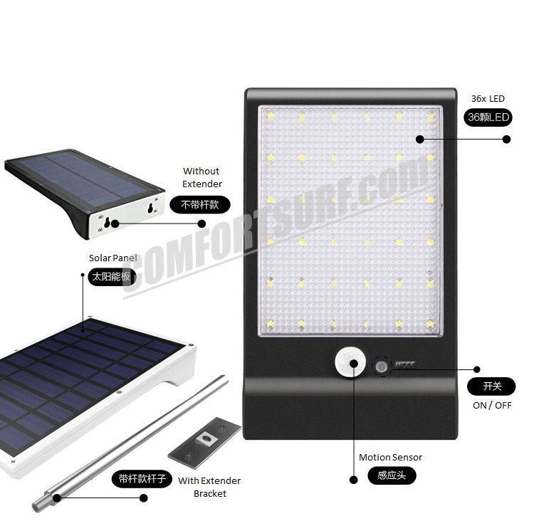MaxSolar SL025 Motion Sensor Super Bright 36 x LED With Latest 3 Modes Wall Signage Street Lamp Auto On Light