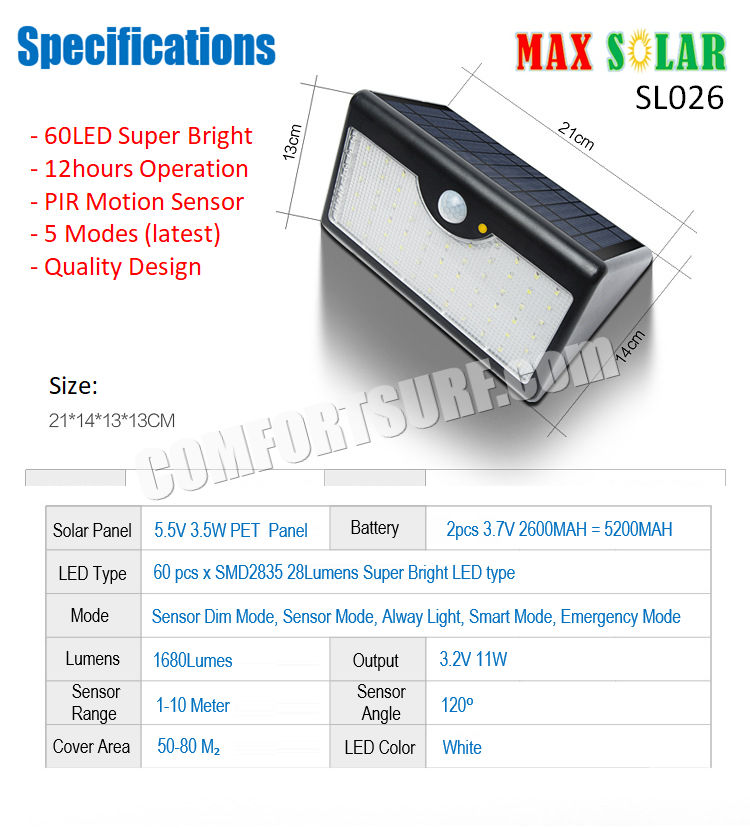 MaxSolar SL026 Motion Sensor Super Bright 36 x LED With Latest 3 Modes Wall Signage Street Lamp Auto On Light