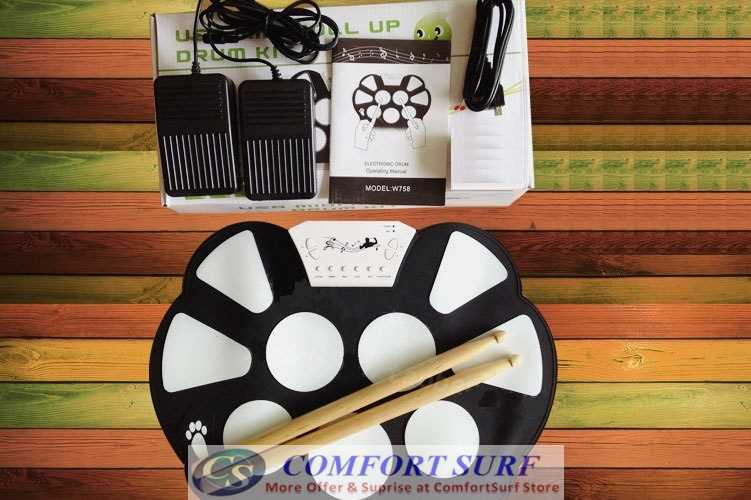 Portable Multifunction Professional Roll Up Electronic Drum Musical Instrumnet With Pedal Expansion