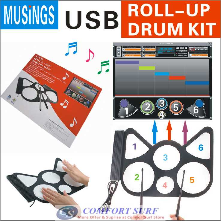 Portable USB Roll Up Electronic Drum Child Kids Musical Instrumnet Work with computer