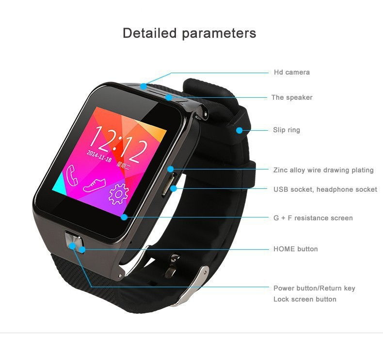 Latest GV10 Smart Watch Phone With Camera Bluetooth Touch Screen Sim Slot