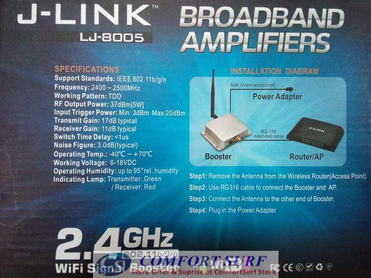 New J-Link 5W Wifi Signal Booster Broadband Amplifier for 2.4GHz Wireless WiFi 802.11 b/g/n Router