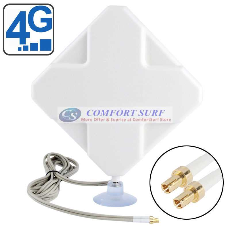 35dBi (17.5dBi x 2) Dual SMA / TS9 / CRC9 Port x2 Mimo Original LTE 4G Antenna for Sierra Wireless / Huawei LTE Modem