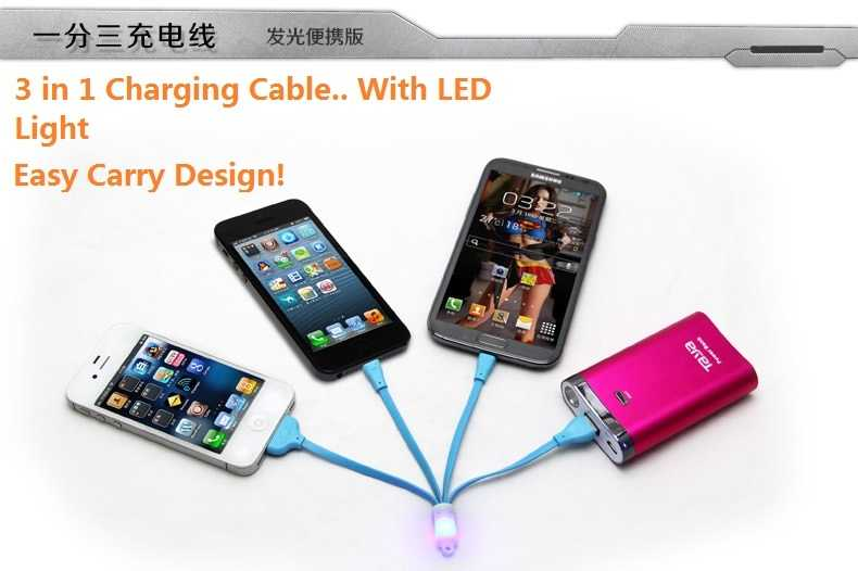 New 3 in 1 Keychain Multifunctional Noodle Style / Charging Cable With LED Light