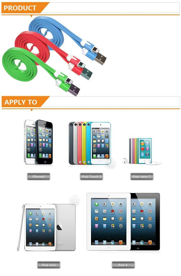 1Meter Noodle Style Lightning 8 Pin USB Sync Data / Charging Cable for Apple iPhone 5, iPad mini, iPad 4, iPod Touch 5