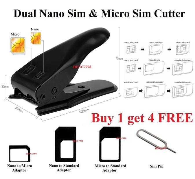 Nano & Micro Dual Double SIM Dual Card 2 in 1 Cutter 3 Adapters