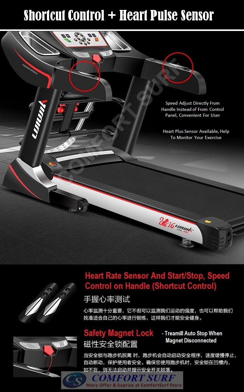 NEW 3.0HP AD818 Treadmill 7inch Color LCD Display / Electric Incline Decline Home Fitness Gym Running Walking Equipment