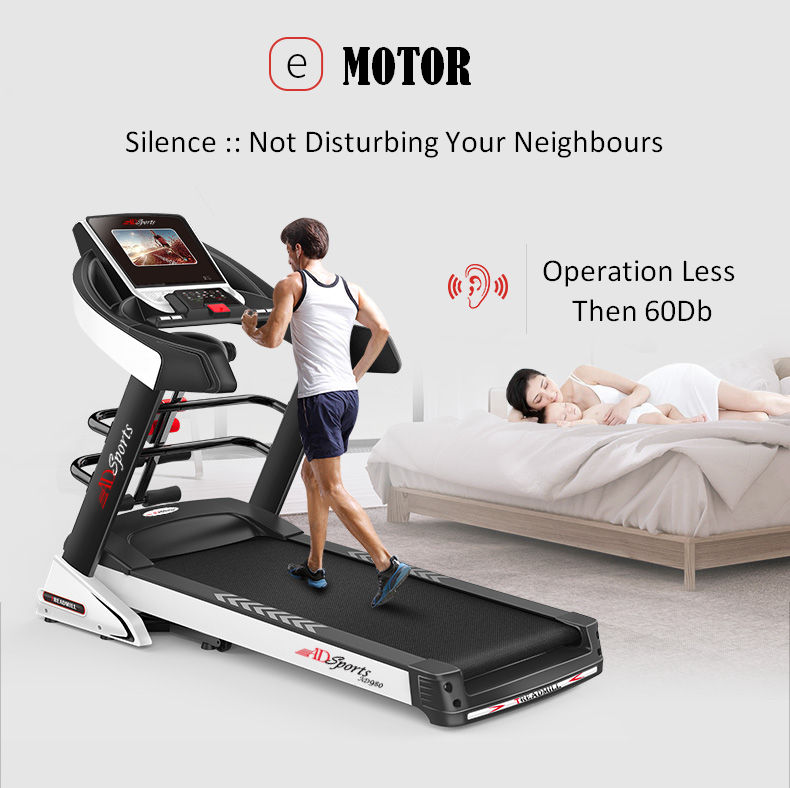 4.5HP ADSports AD980 10inch (Color Touch Screen) / 5inch (Blue Screen) Motorize Electric Treadmill 15 Levels Auto Electric Inclination, 64CM Wide Running Platform With Auto Refueling System & 4 Ways Spring Shock Absorption Damping System