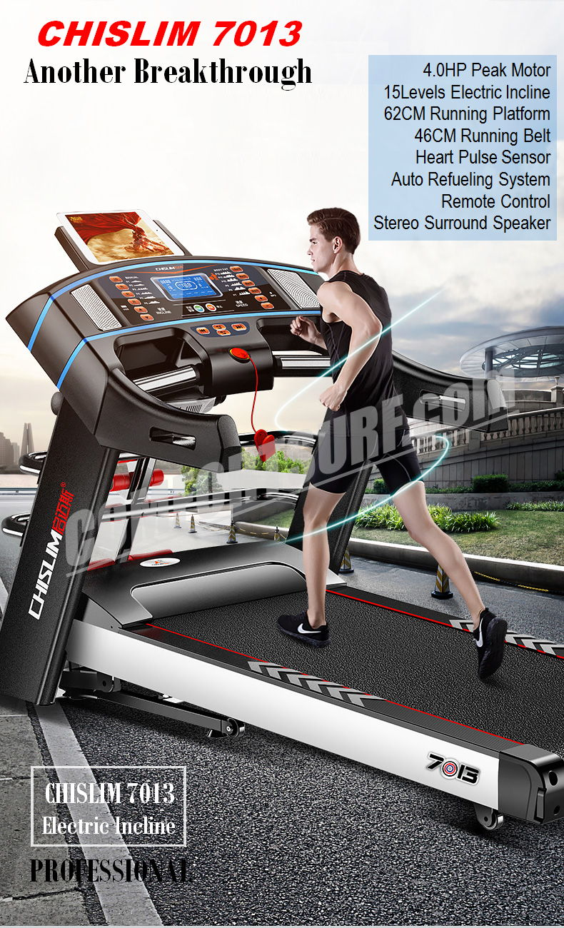 4.0HP Chislim 7013 Electric Auto Incline Decline Treadmill 62CM Wide Running Platform With Auto Refueling System & 4Ways Shock Absorption Damping System