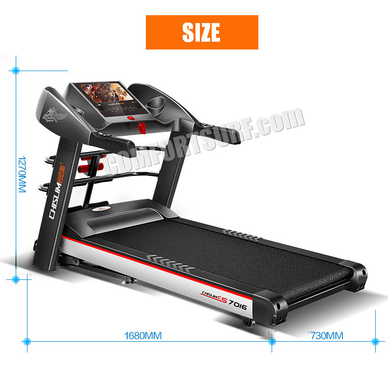 4.0HP Chislim 7016 Electric Auto Incline Decline Treadmill 62CM Wide Running Platform With Auto Refueling System & 4 Ways Spring Shock Absorption Damping System