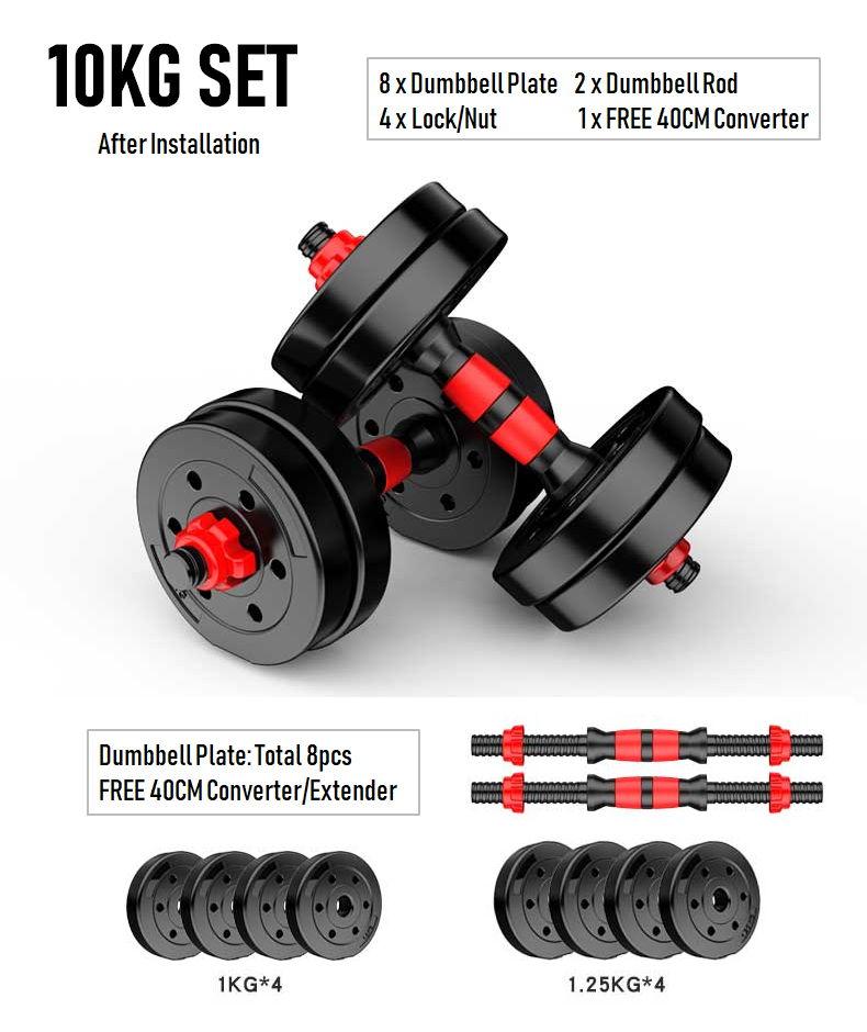 ADSports 10KG Top Grade Gym Fitness Black Bumper Plate Rubber Dumbbell Set V8 10KG Set.