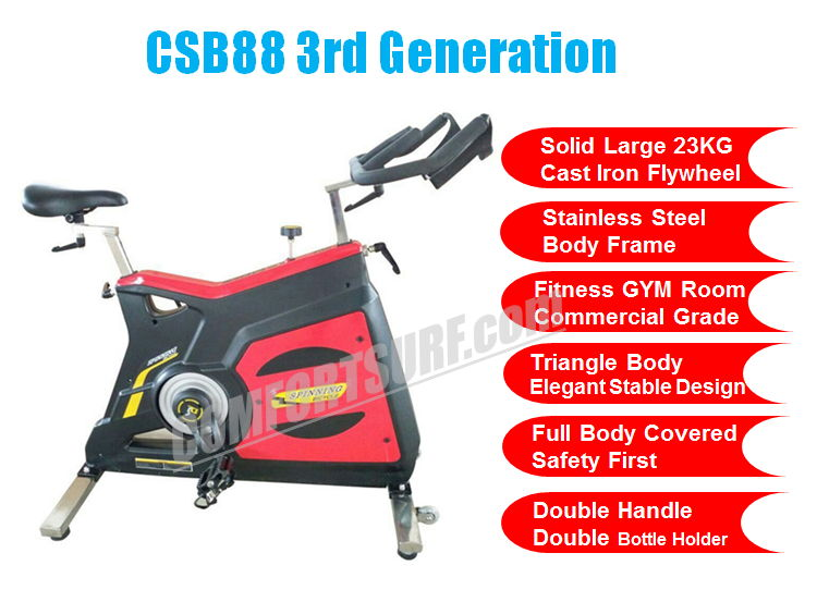 Commercial GYM Room Spinning Exercise Bike 23KG Flywheel, 68KG Stainless Steel Body Frame Multi Adjustable Stable Elegant Design Bicycle Exercise Bike