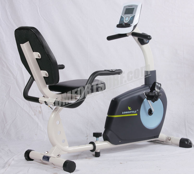 LongStyle BC66013 Recumbent Fitness Stationary Exercise Bike with Display Monitoring Heart Pluse Sensor Exercise Bicycle Cardio Workout Indoor Cycling Best For Elderly