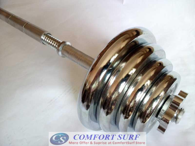 Dumbbell Extender Bar - Transform your dumbbell to Barbell - Quality Electroplating Chrome Extended Bar Mercerized Rod