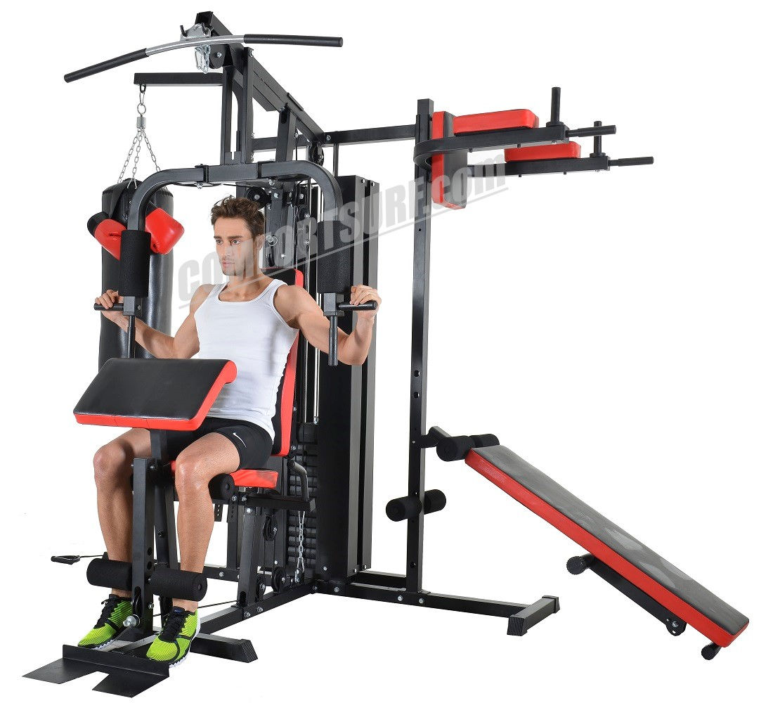 F28 Solid 210KG Gym Fitness 3 Stack Multi Station Lats Pull Down Leg Arm Ab Back Workout, Boxing Punching, Supine Board, Full Range of Motions Exercises Strength Trainer