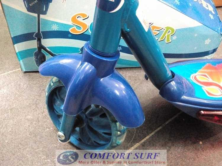 Quality 3 Wheel Micro Scooter - With Build in Music and LED Flashing Light & Basket -